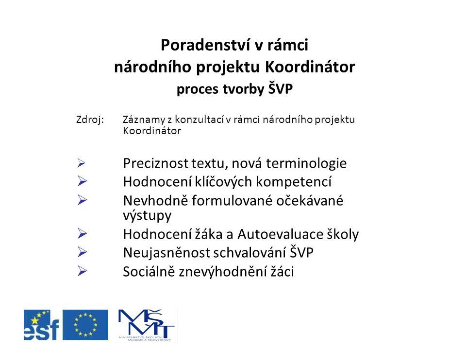 Poradenství v rámci národního projektu Koordinátor proces tvorby ŠVP