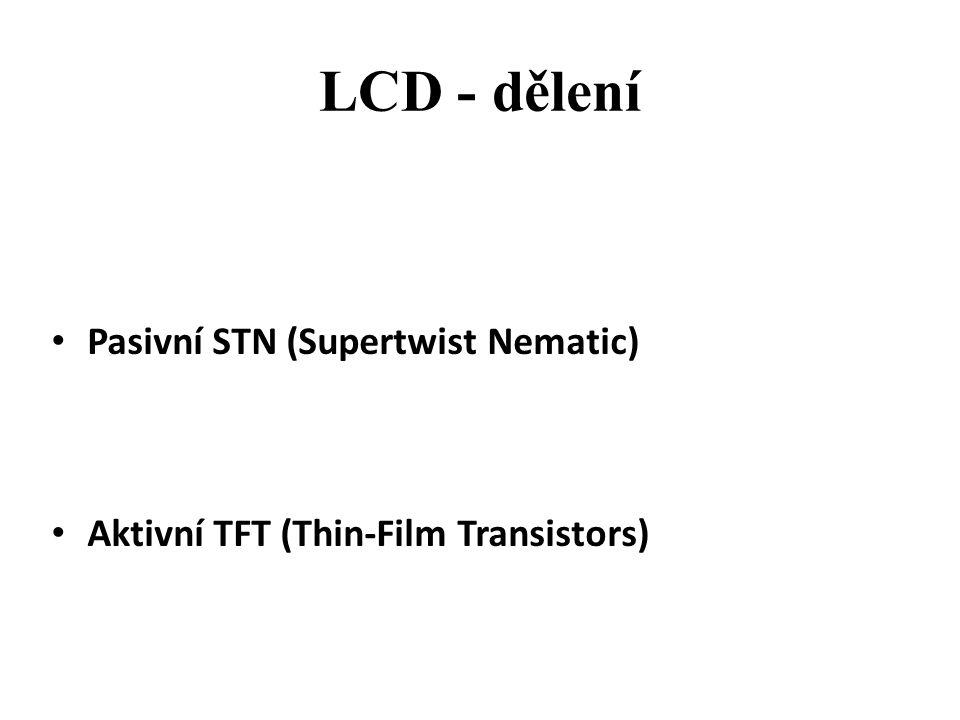 LCD - dělení Pasivní STN (Supertwist Nematic)