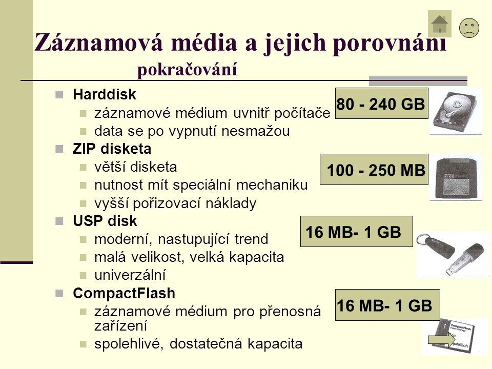 Záznamová média a jejich porovnání pokračování