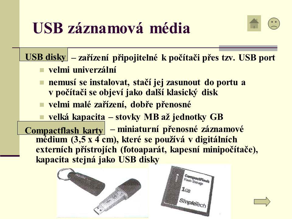 USB záznamová média USB disky