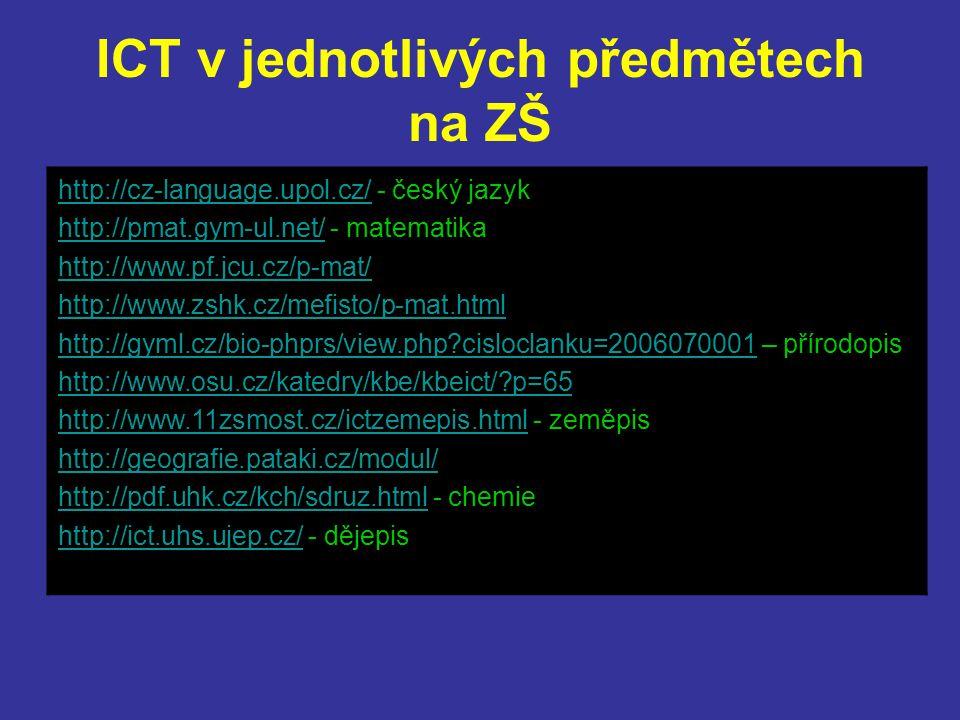 ICT v jednotlivých předmětech na ZŠ