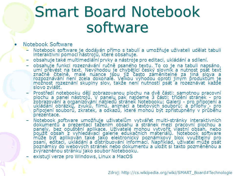 Smart Board Notebook software