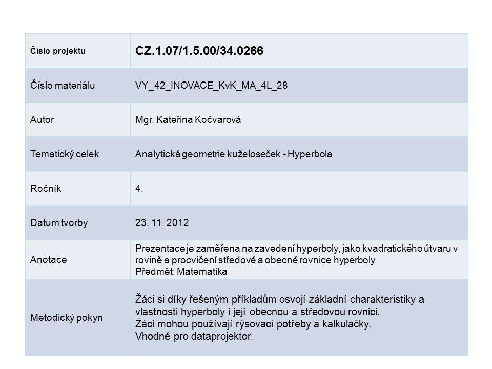 Číslo projektu CZ.1.07/1.5.00/34.0266. Číslo materiálu. VY_42_INOVACE_KvK_MA_4L_28. Autor. Mgr. Kateřina Kočvarová.