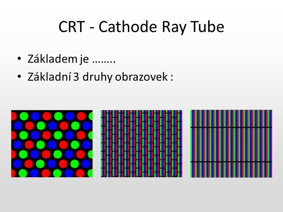 CRT - Cathode Ray Tube Základem je …….. Základní 3 druhy obrazovek :