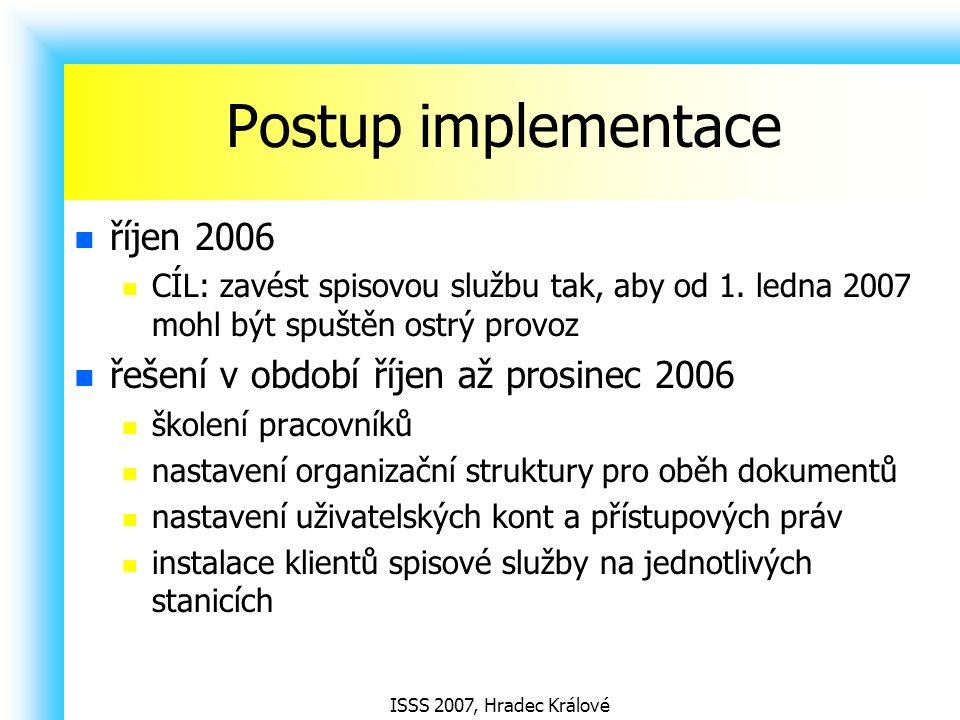 Postup implementace říjen 2006 řešení v období říjen až prosinec 2006
