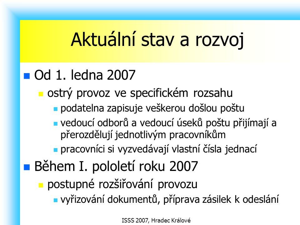 Aktuální stav a rozvoj Od 1. ledna 2007 Během I. pololetí roku 2007