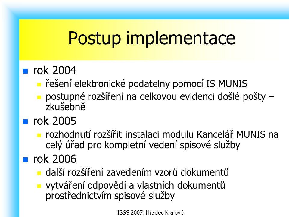 Postup implementace rok 2004 rok 2005 rok 2006
