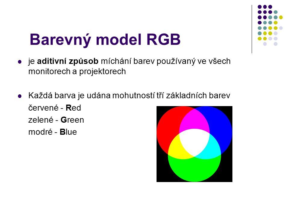 Barevný model RGB je aditivní způsob míchání barev používaný ve všech monitorech a projektorech.