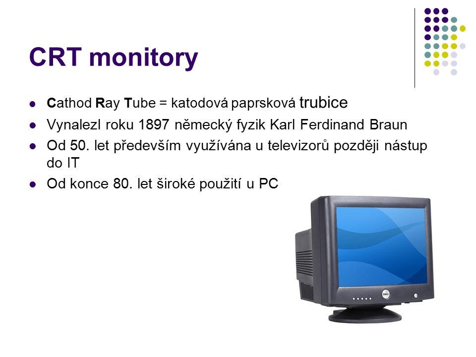 CRT monitory Vynalezl roku 1897 německý fyzik Karl Ferdinand Braun
