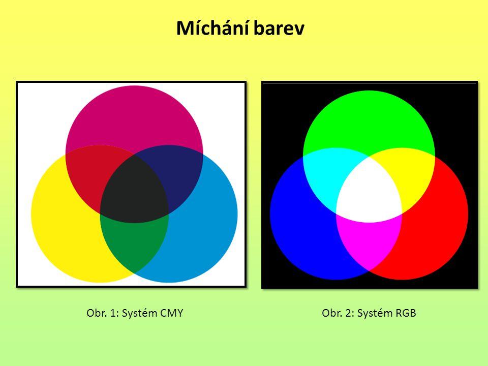 Míchání barev Obr. 1: Systém CMY Obr. 2: Systém RGB