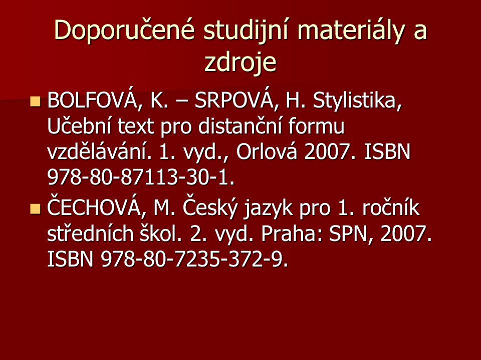 Doporučené studijní materiály a zdroje