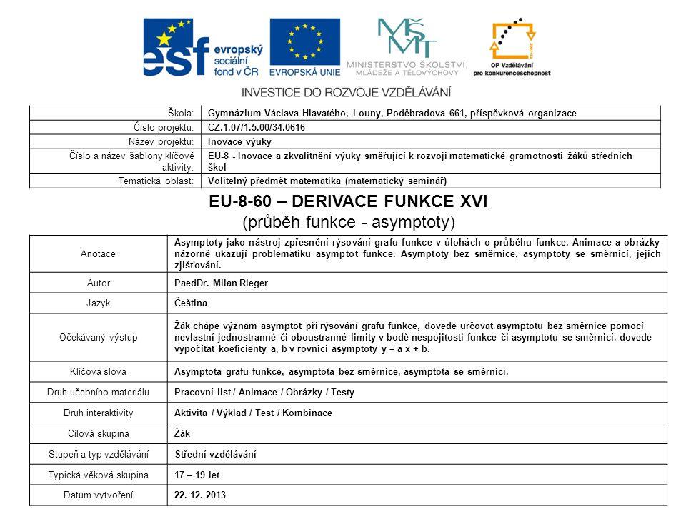 EU-8-60 – DERIVACE FUNKCE XVI