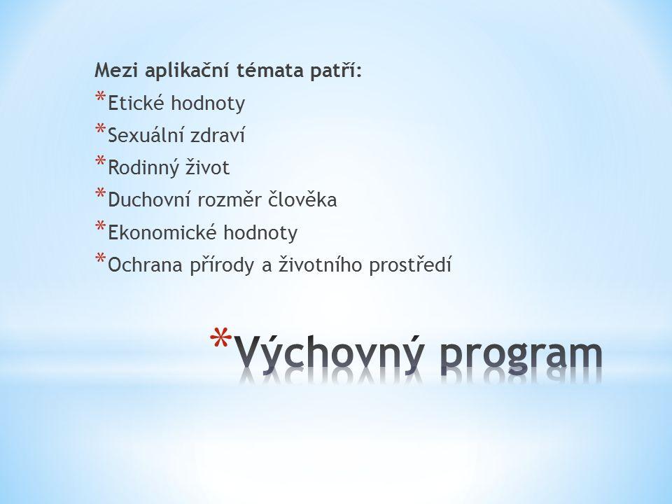 Výchovný program Mezi aplikační témata patří: Etické hodnoty