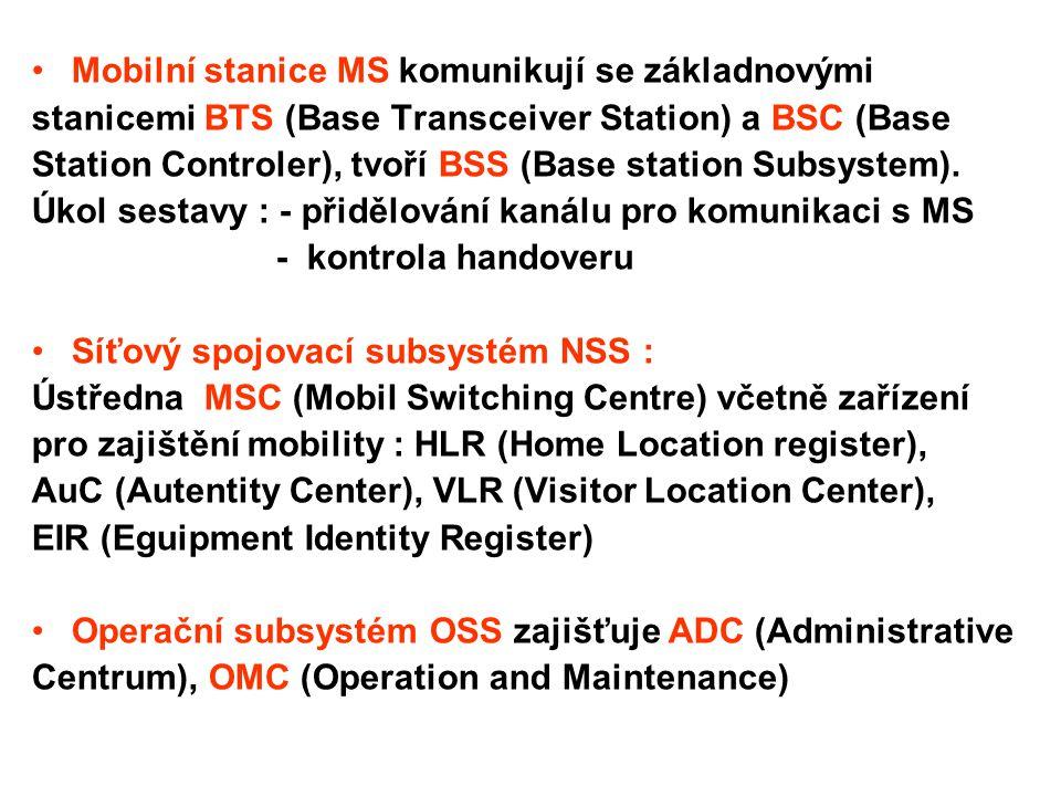 Mobilní stanice MS komunikují se základnovými
