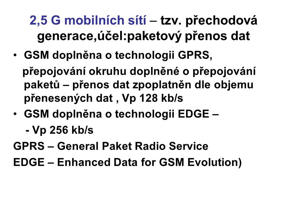 2,5 G mobilních sítí – tzv. přechodová generace,účel:paketový přenos dat