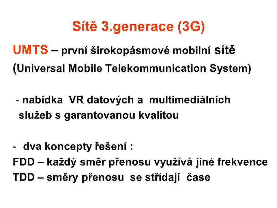 Sítě 3.generace (3G) UMTS – první širokopásmové mobilní sítě