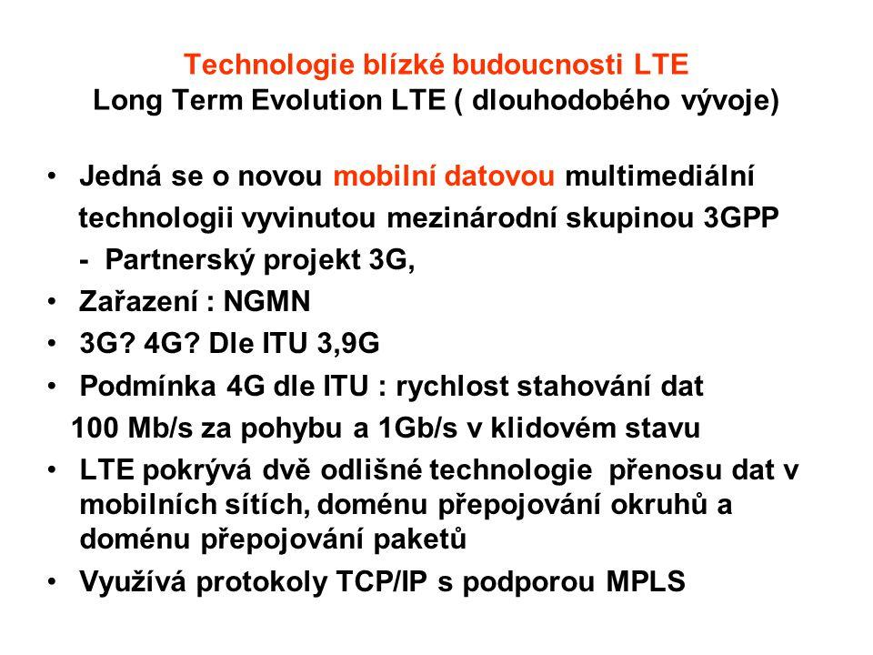 Technologie blízké budoucnosti LTE Long Term Evolution LTE ( dlouhodobého vývoje)