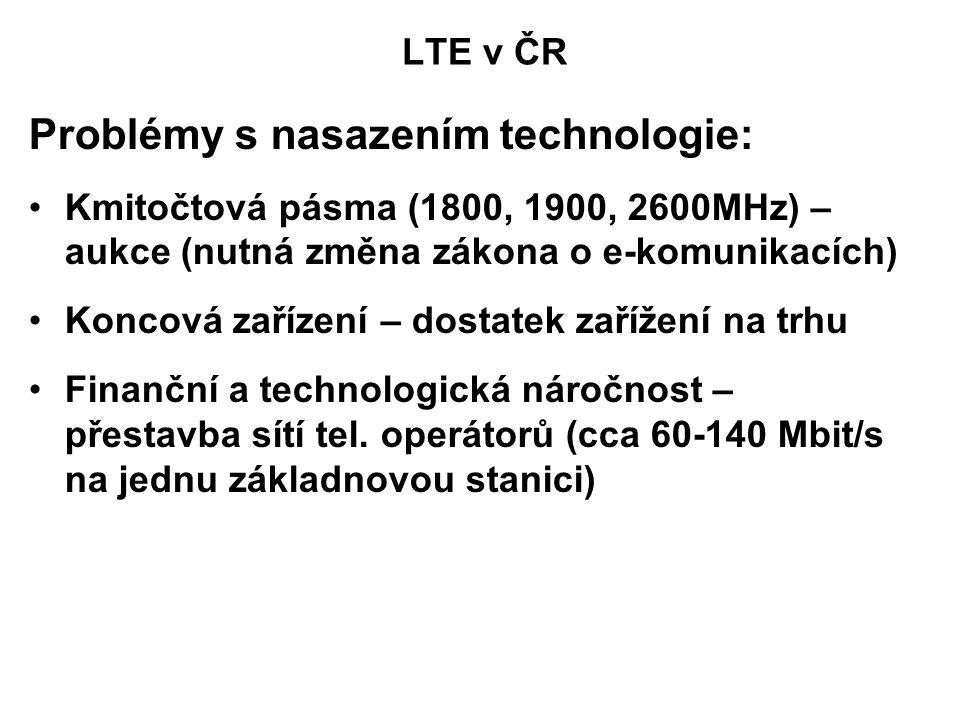 Problémy s nasazením technologie: