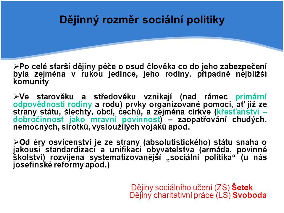 Dějinný rozměr sociální politiky