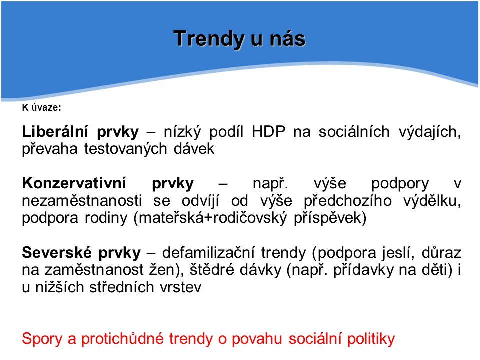 Trendy u nás K úvaze: Liberální prvky – nízký podíl HDP na sociálních výdajích, převaha testovaných dávek.