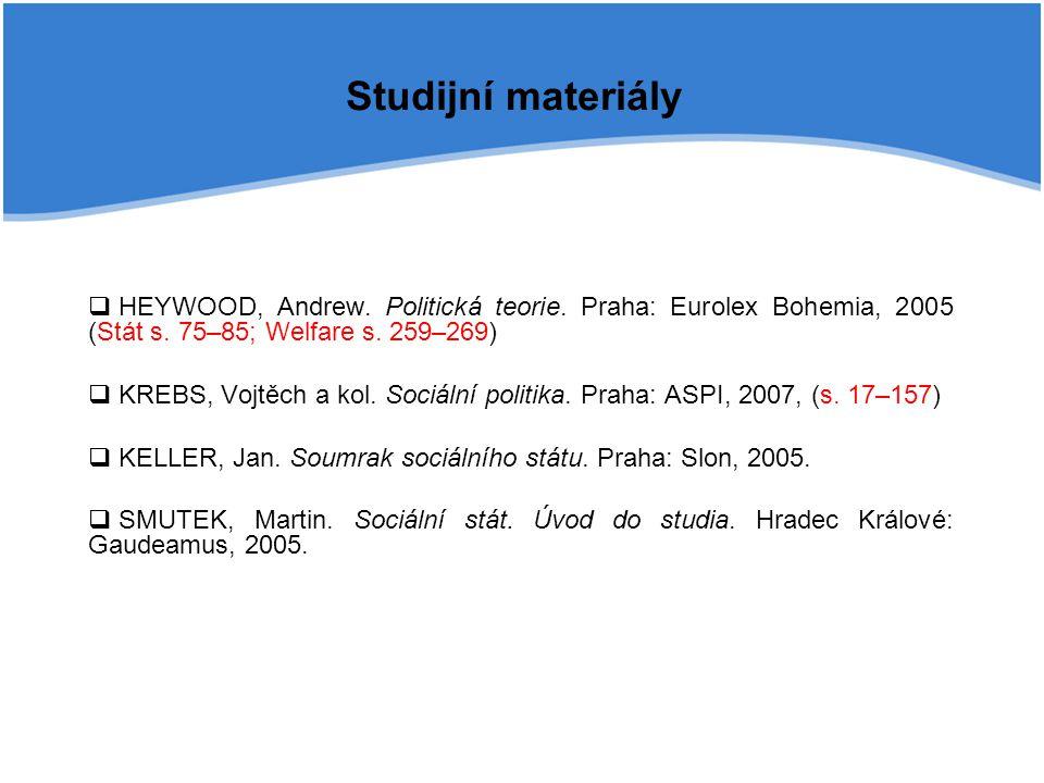 Studijní materiály HEYWOOD, Andrew. Politická teorie. Praha: Eurolex Bohemia, 2005 (Stát s. 75–85; Welfare s. 259–269)