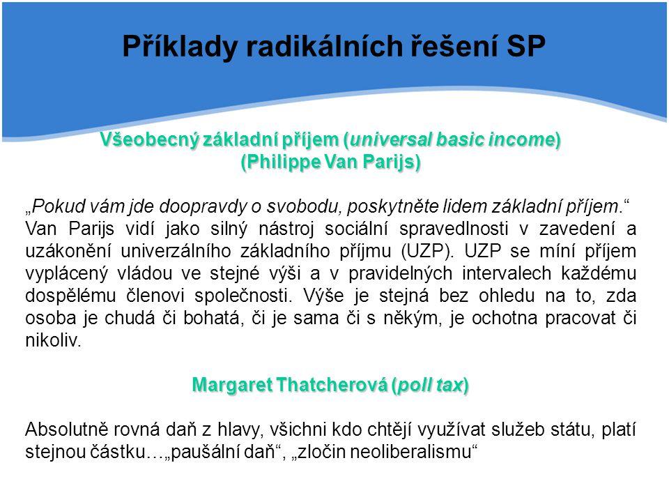 Příklady radikálních řešení SP