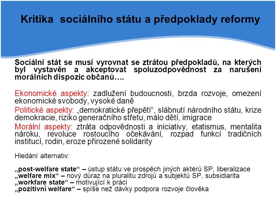 Kritika sociálního státu a předpoklady reformy