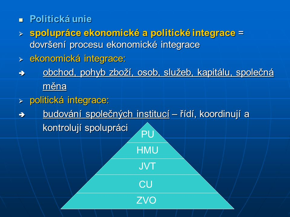 Politická unie spolupráce ekonomické a politické integrace = dovršení procesu ekonomické integrace.