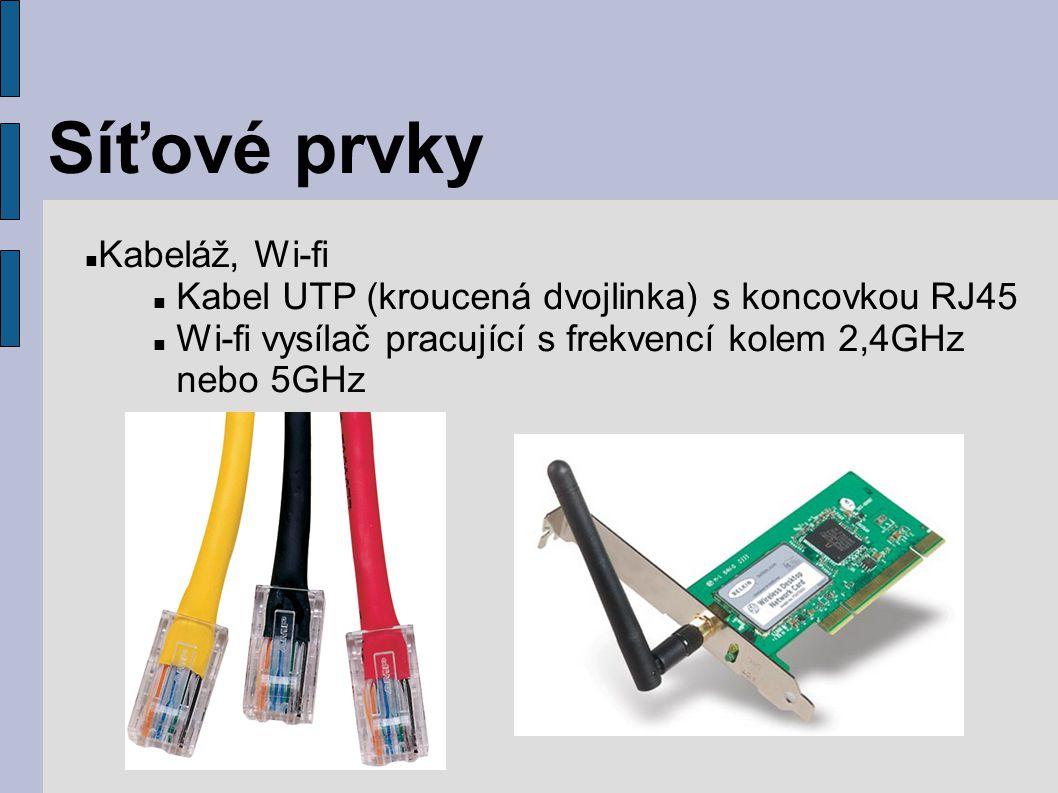 Síťové prvky Kabeláž, Wi-fi