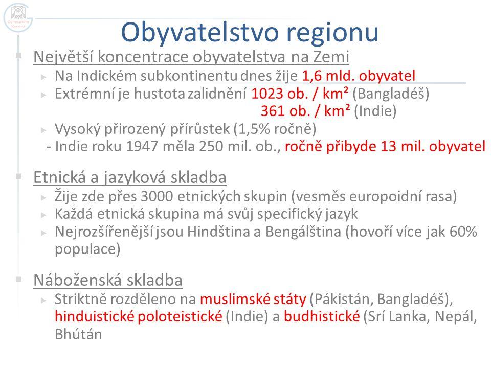 Obyvatelstvo regionu Největší koncentrace obyvatelstva na Zemi