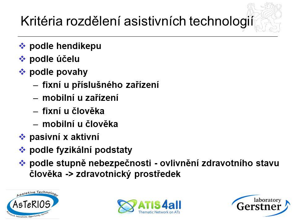 Kritéria rozdělení asistivních technologií