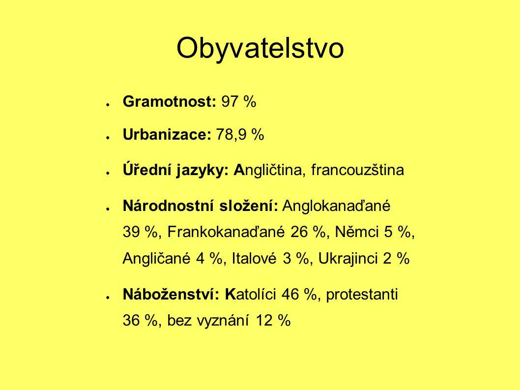 Obyvatelstvo Gramotnost: 97 % Urbanizace: 78,9 %