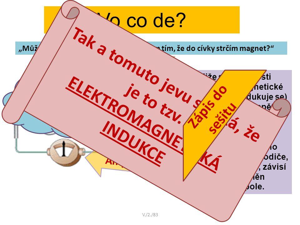 Tak a tomuto jevu se říká, že je to tzv. ELEKTROMAGNETICKÁ INDUKCE