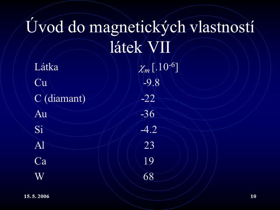 Úvod do magnetických vlastností látek VII