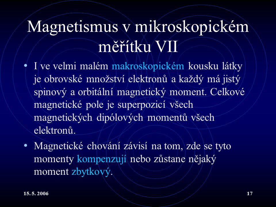 Magnetismus v mikroskopickém měřítku VII