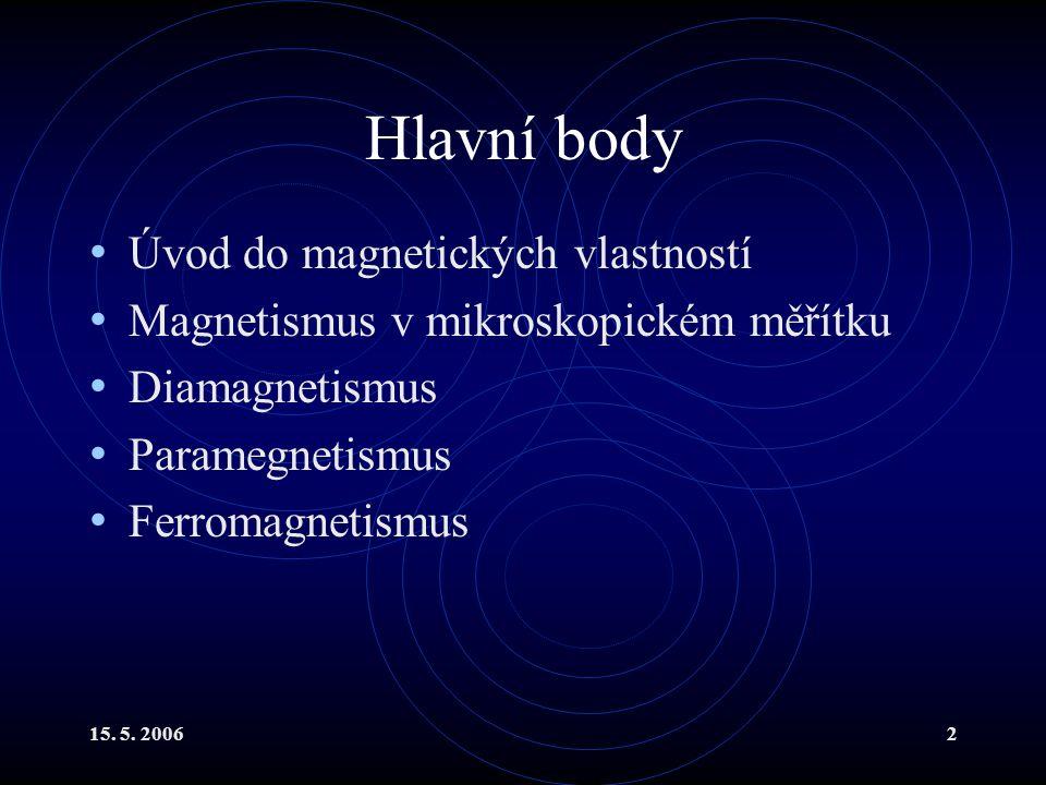 Hlavní body Úvod do magnetických vlastností