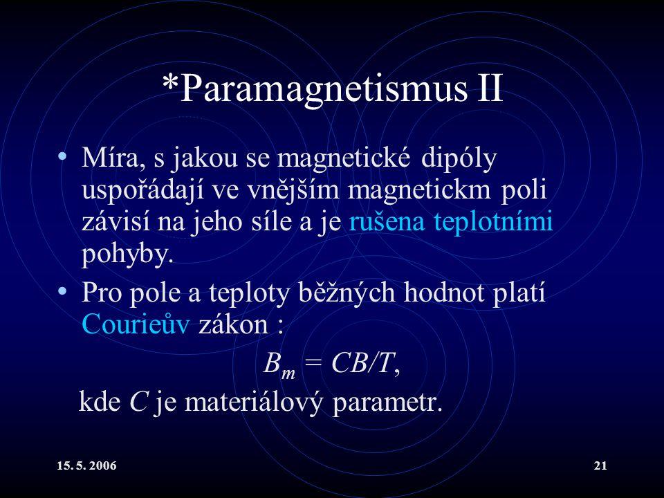 *Paramagnetismus II Míra, s jakou se magnetické dipóly uspořádají ve vnějším magnetickm poli závisí na jeho síle a je rušena teplotními pohyby.