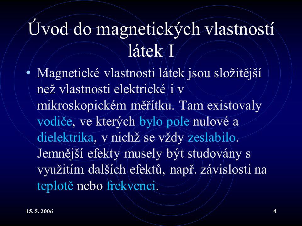 Úvod do magnetických vlastností látek I