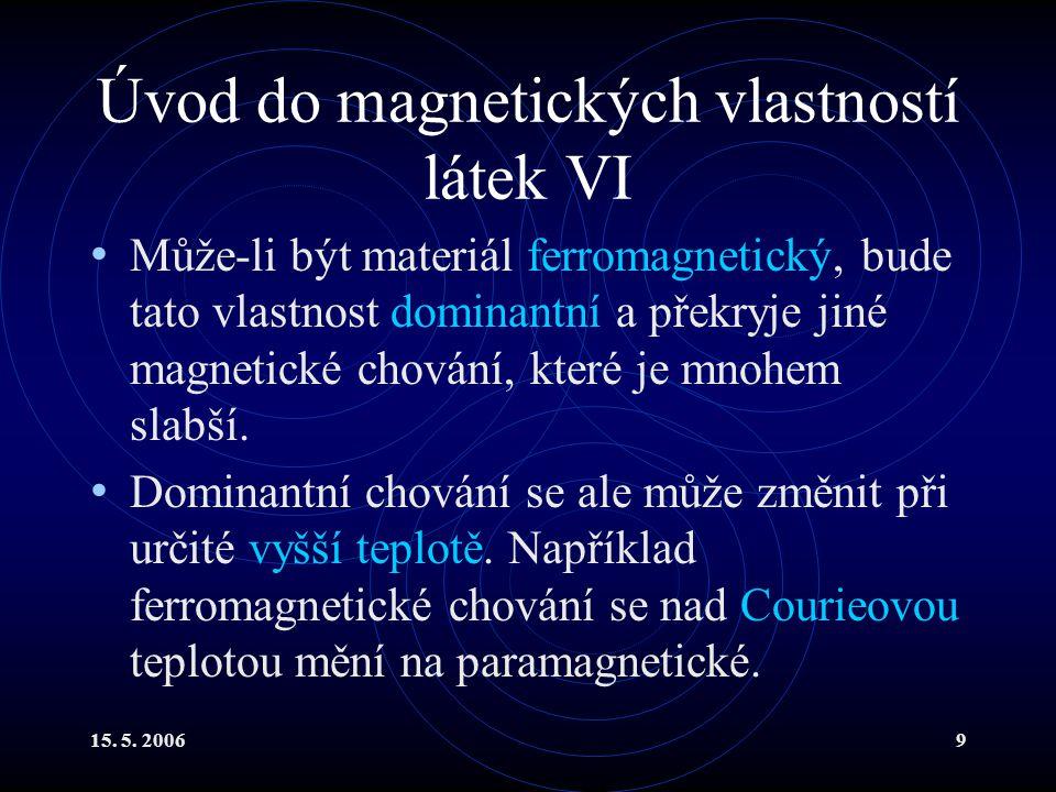 Úvod do magnetických vlastností látek VI