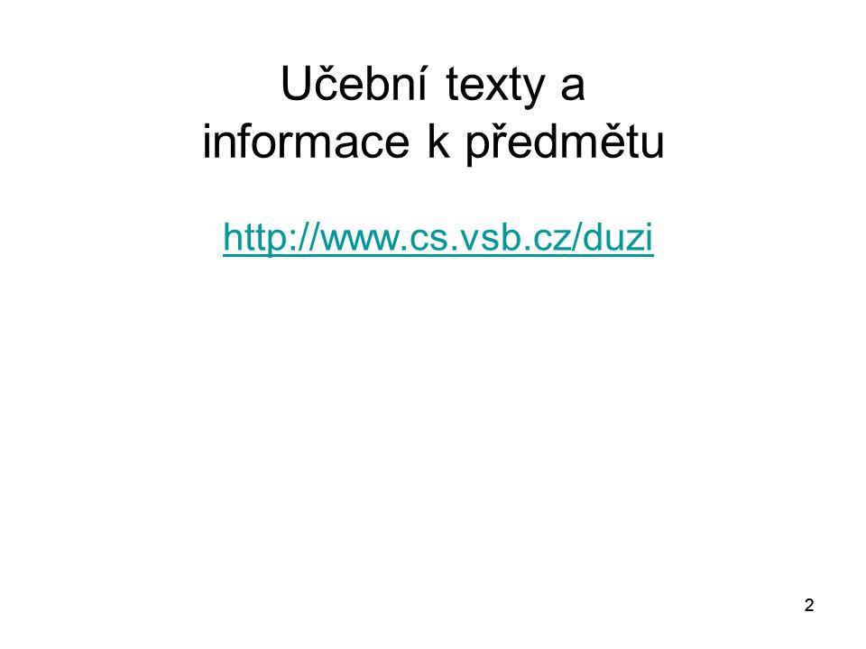 Učební texty a informace k předmětu