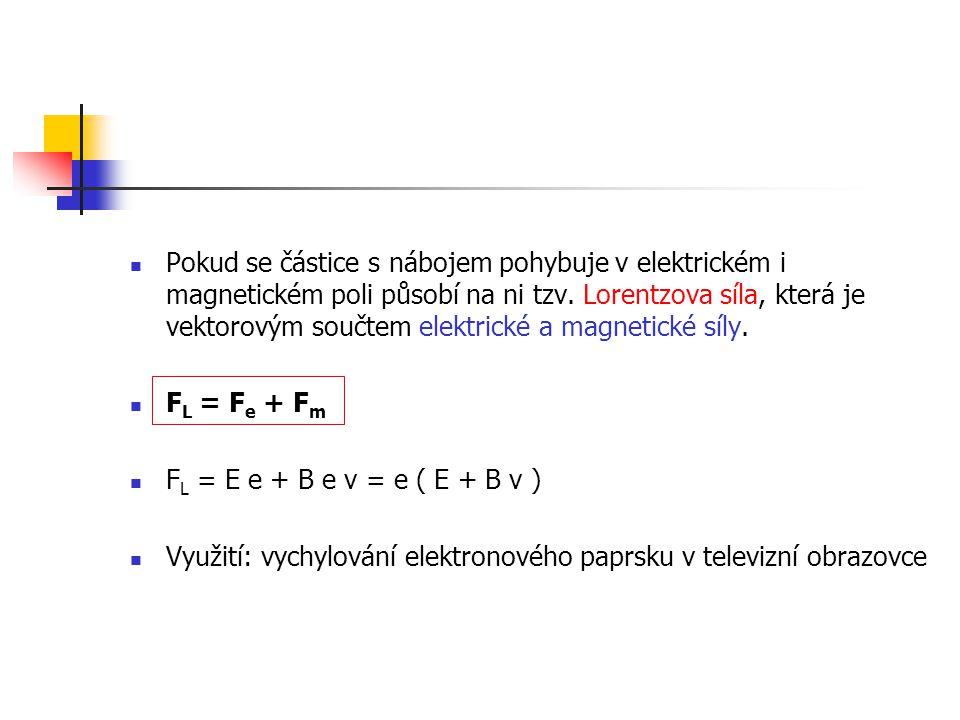 Pokud se částice s nábojem pohybuje v elektrickém i magnetickém poli působí na ni tzv. Lorentzova síla, která je vektorovým součtem elektrické a magnetické síly.