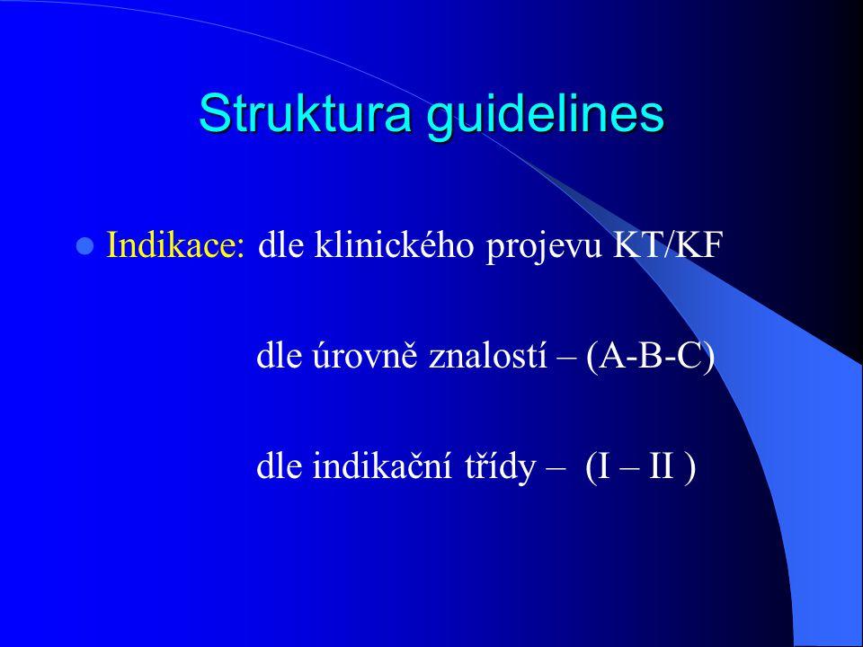 Struktura guidelines Indikace: dle klinického projevu KT/KF