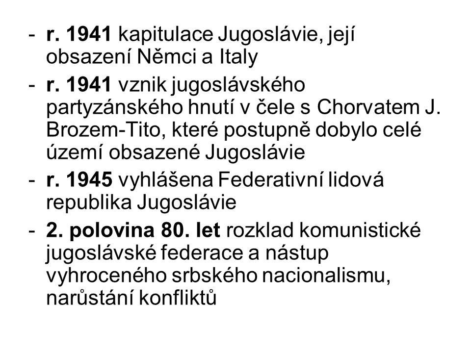 r. 1941 kapitulace Jugoslávie, její obsazení Němci a Italy