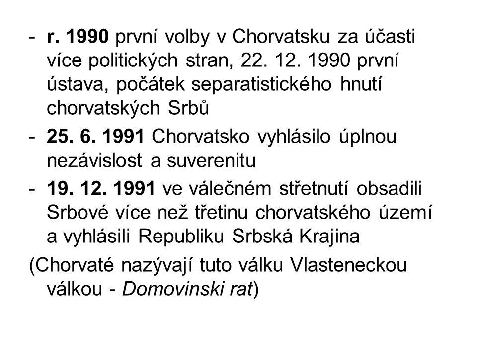 r. 1990 první volby v Chorvatsku za účasti více politických stran, 22
