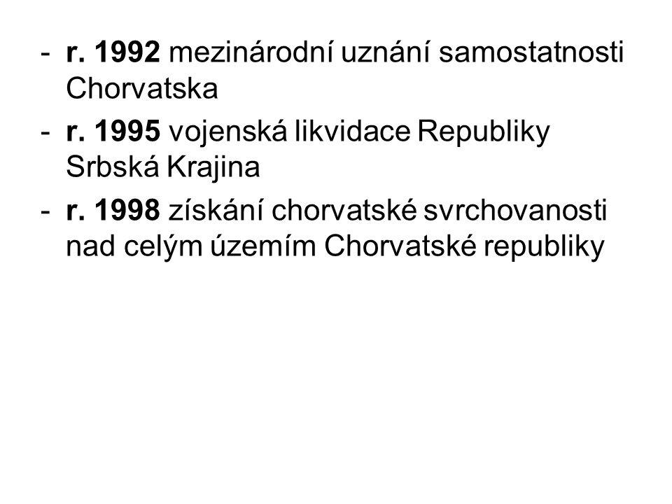 r. 1992 mezinárodní uznání samostatnosti Chorvatska