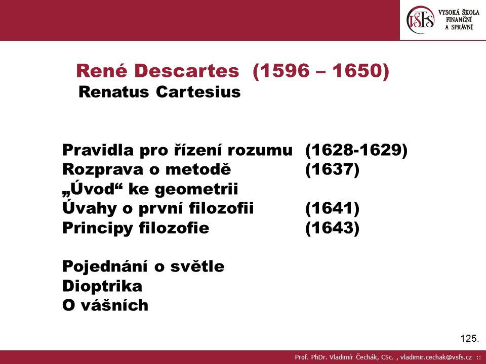 René Descartes (1596 – 1650) Renatus Cartesius