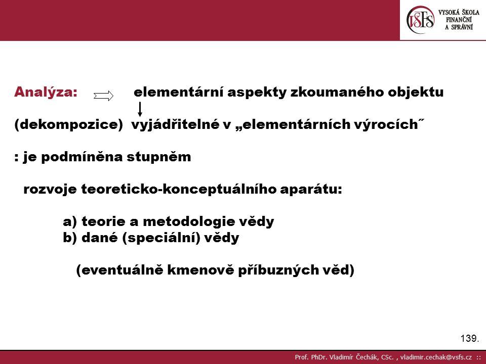 Analýza: elementární aspekty zkoumaného objektu