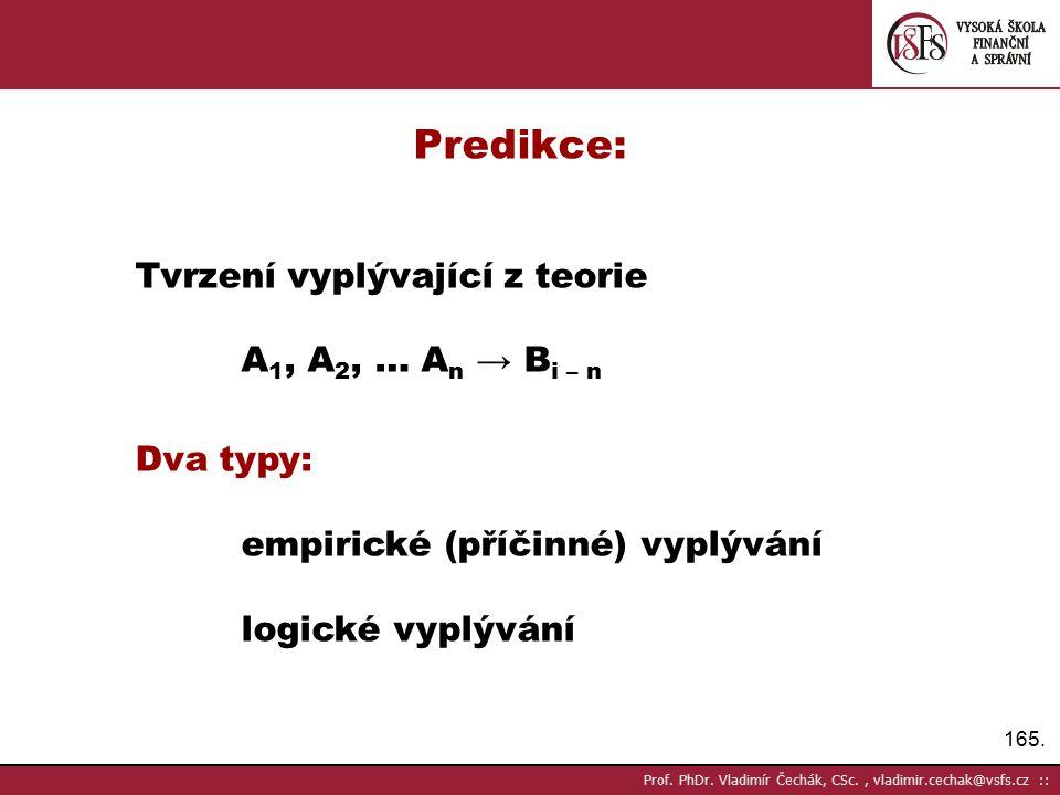 Predikce: Tvrzení vyplývající z teorie A1, A2, … An → Bi – n Dva typy: