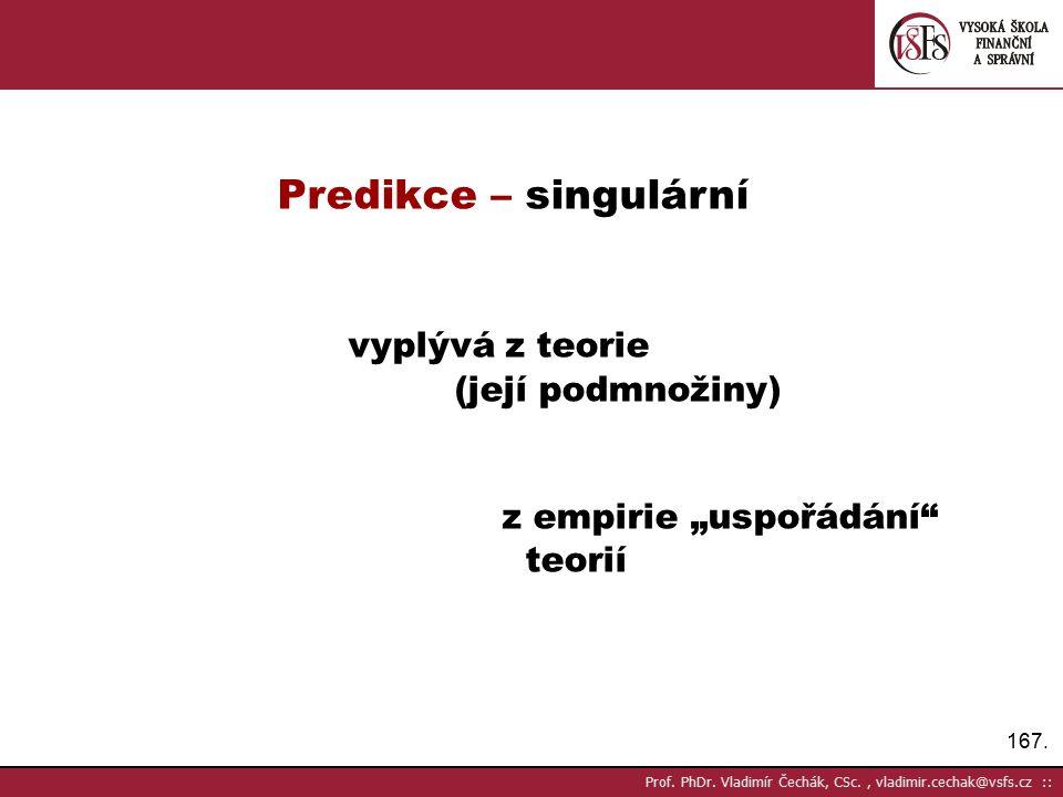 Predikce – singulární vyplývá z teorie (její podmnožiny)