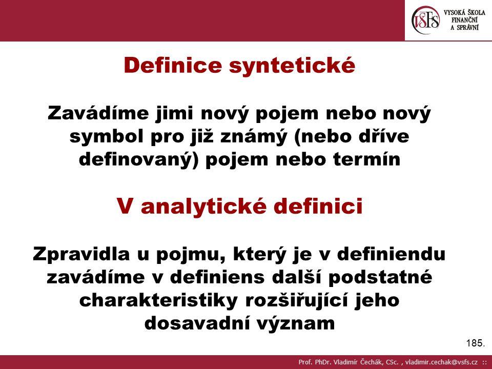 Definice syntetické V analytické definici